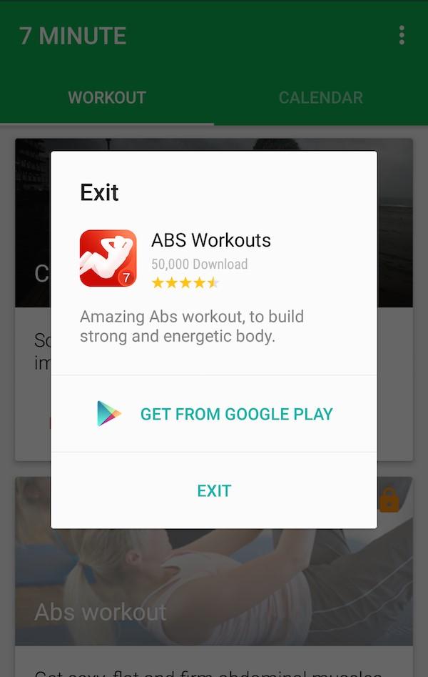 ابز ورکاوت (Abs Workout) – تبلیغ داخل اپلیکیشن به صورت پاپآپ