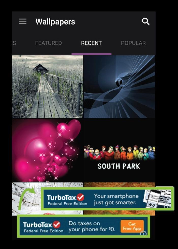 توربوتکس ( TurboTax ) – تبلیغات بنری داخل اپلیکیشن
