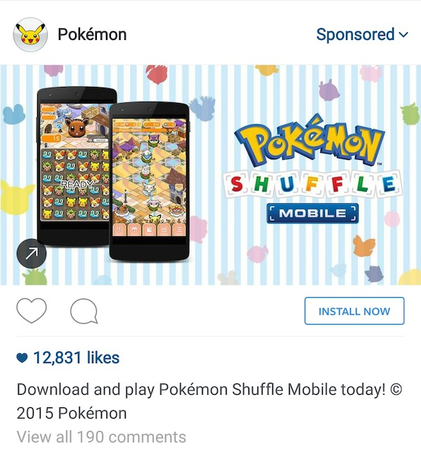 پوکمون شافل (Pokemon Shuffle) – تبلیغ در اینستاگرام